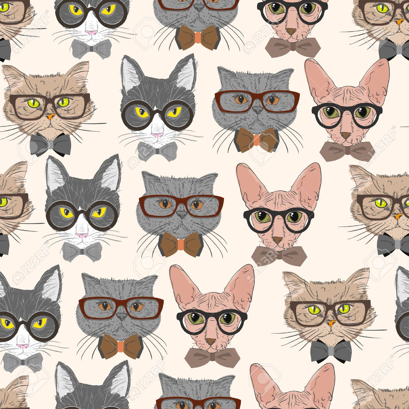 Seamless Hipster Cats Pattern Background Illustration Stock Vector