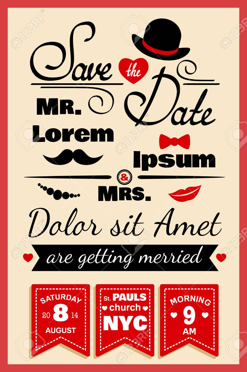 Wedding Invitation Card Or Infographics Elements In Hipster Style ...