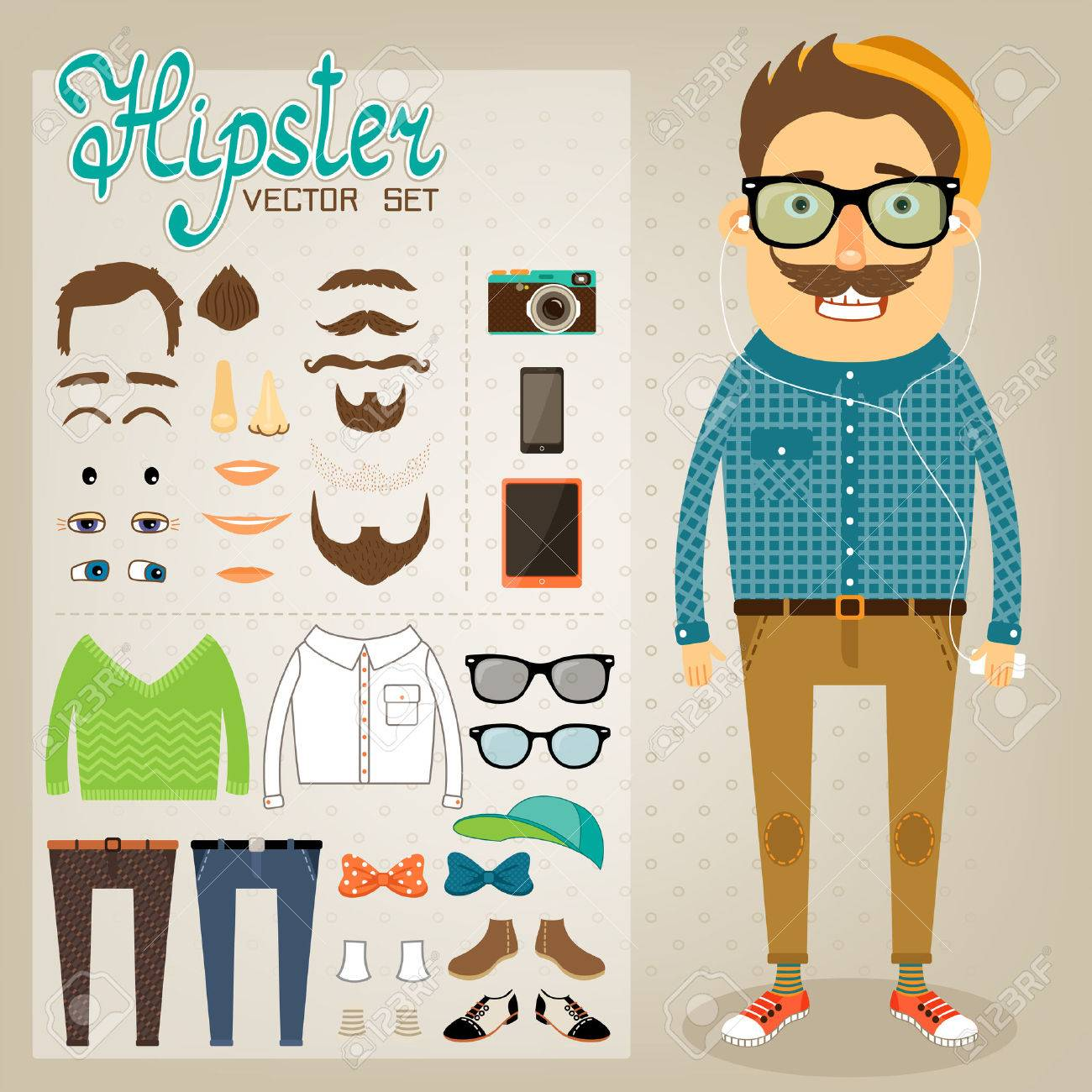 Hipster character pack for geek boy with accessory clothing and facial elements vector illustration - 25271675