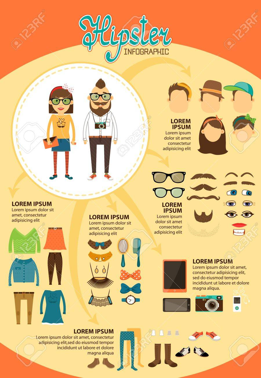 Hipster Infographics With Fashion Design Elements For Vintage