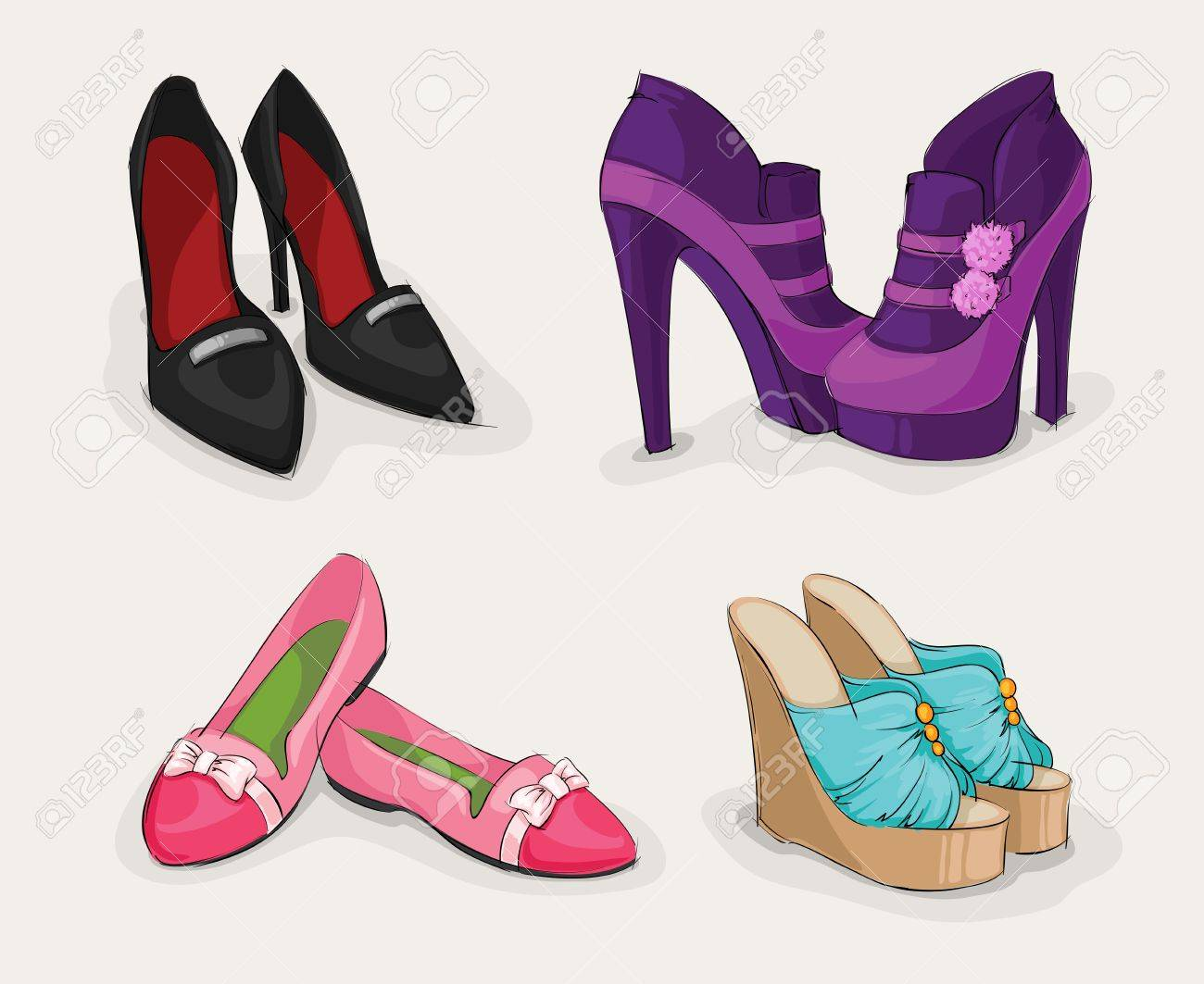Boots fashion pic boots clip art - Fashion Collection Of Classic Woman S Black Shoes On High Heels Ankle Boots And Sandals Isolated Illustration