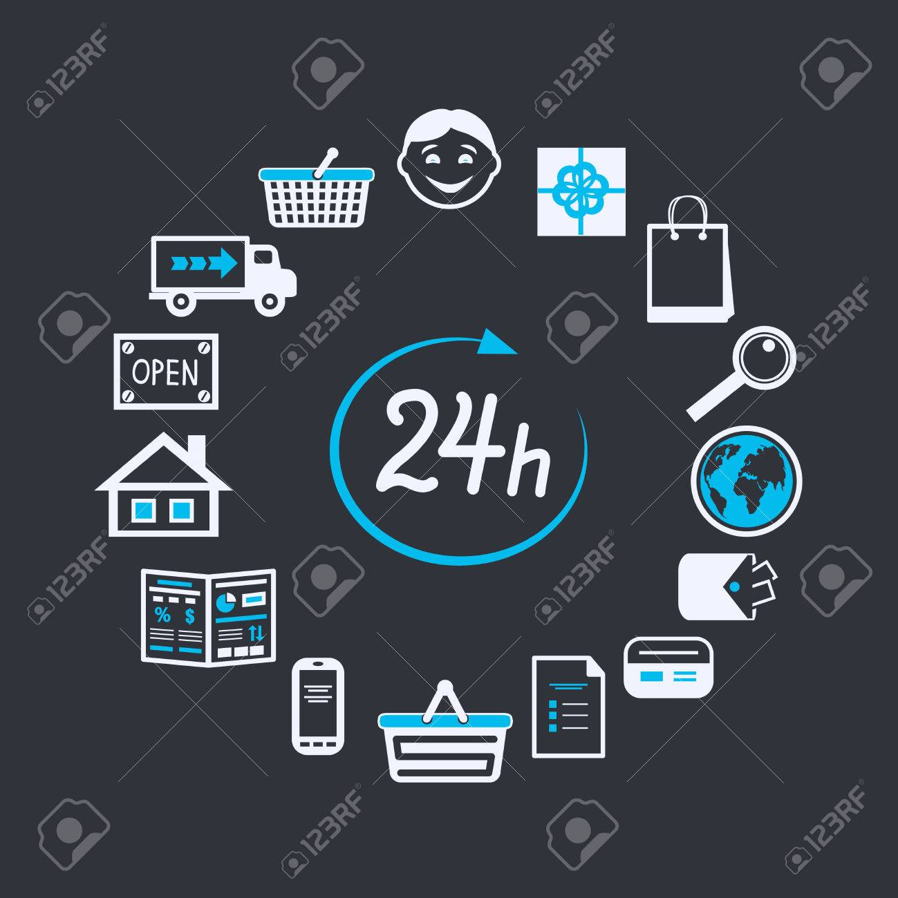 313fdf8a73f502 Internet website winkel 24 uur geopend voor online winkelen en geïsoleerde  klantenservice begrip vector illustratie Stockfoto