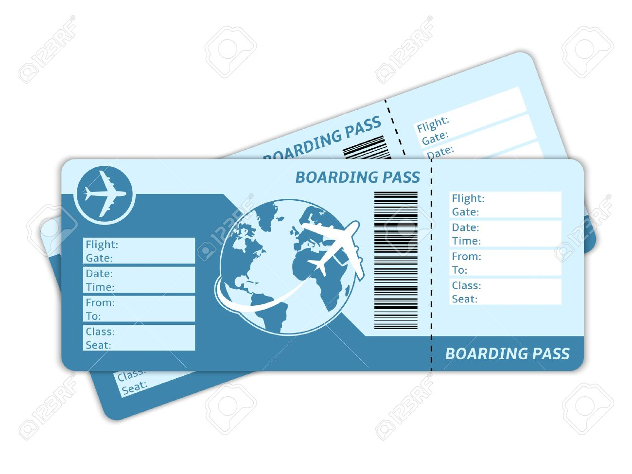 Blank plane tickets for business trip travel or vacation journey isolated vector illustration - 25950620