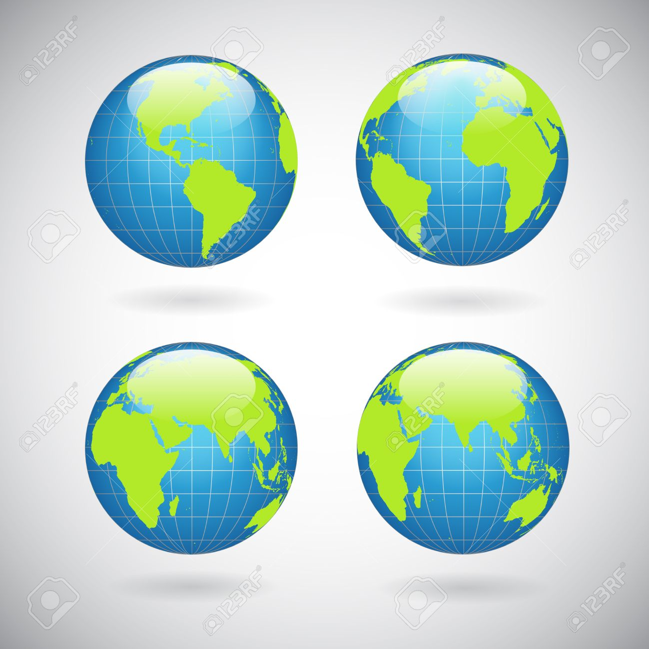 Earth globe icons set with world map continents and oceans isolated earth globe icons set with world map continents and oceans isolated vector illustration foto de archivo gumiabroncs Gallery