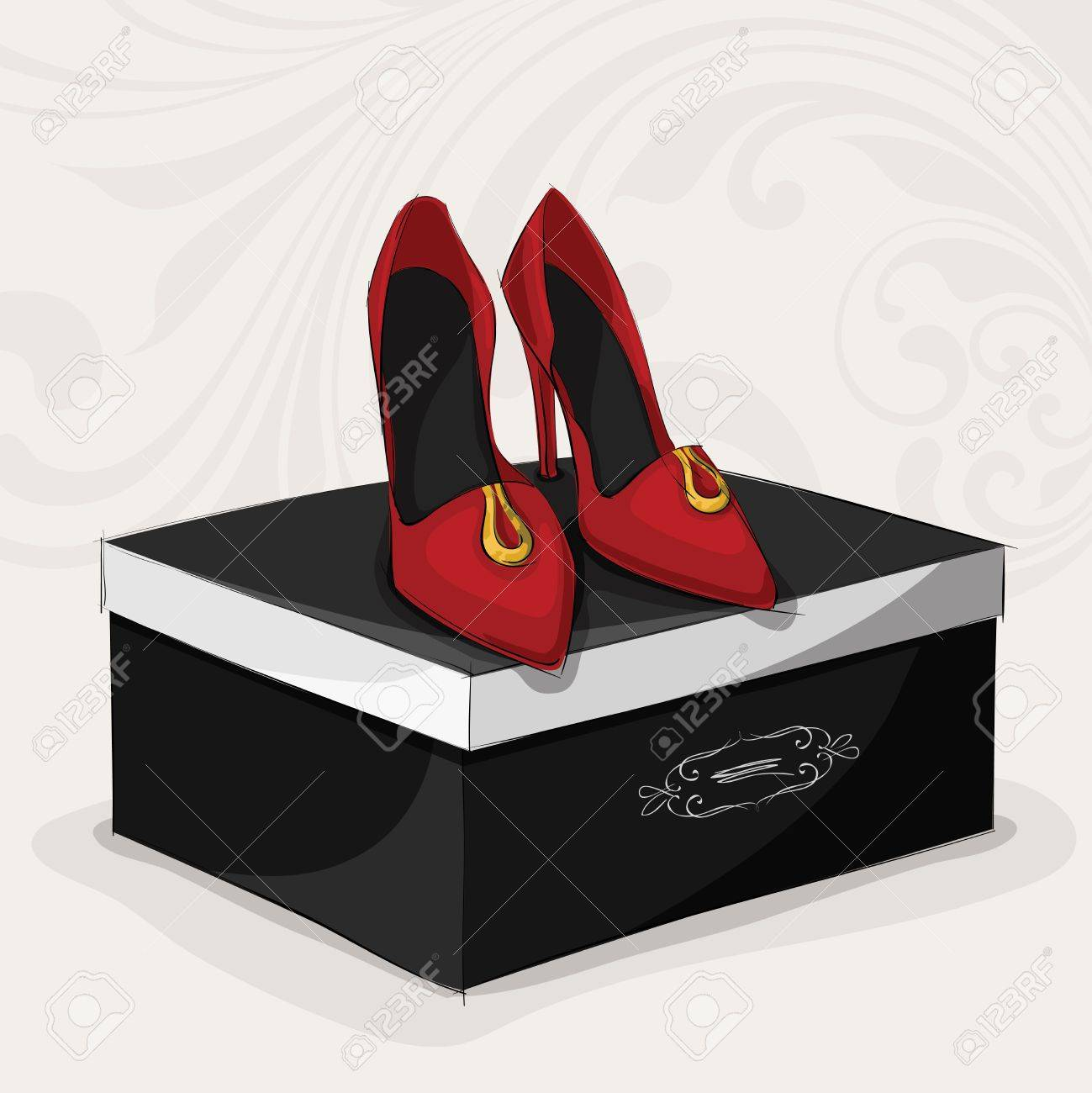 Fashion woman\u0027s red shoes on high heels on black luxury gift..