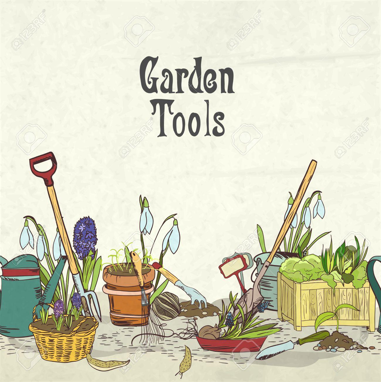 Herramientas De Jardinería Dibujados A Mano álbum Frontera Cubierta ...