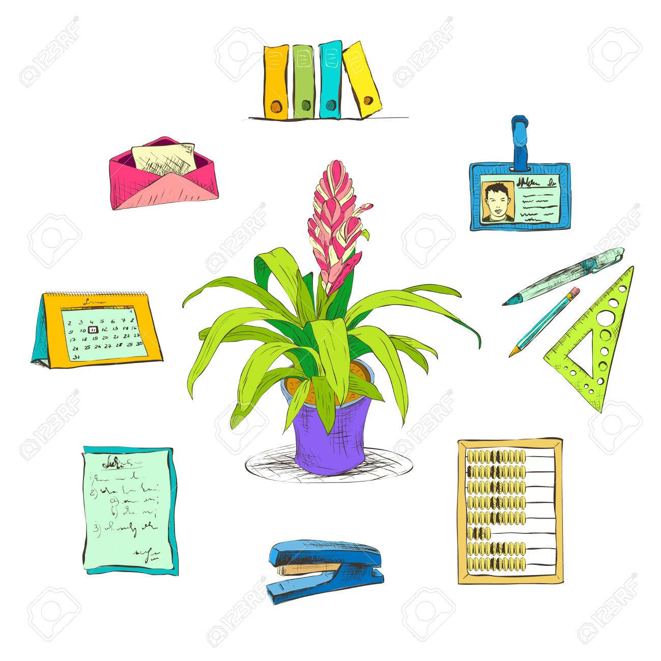 decorative office supplies. Business Office Stationery Supplies Icons Set With Decorative Desktop Flower Plant Isolated Sketch Illustration Stock Vector I
