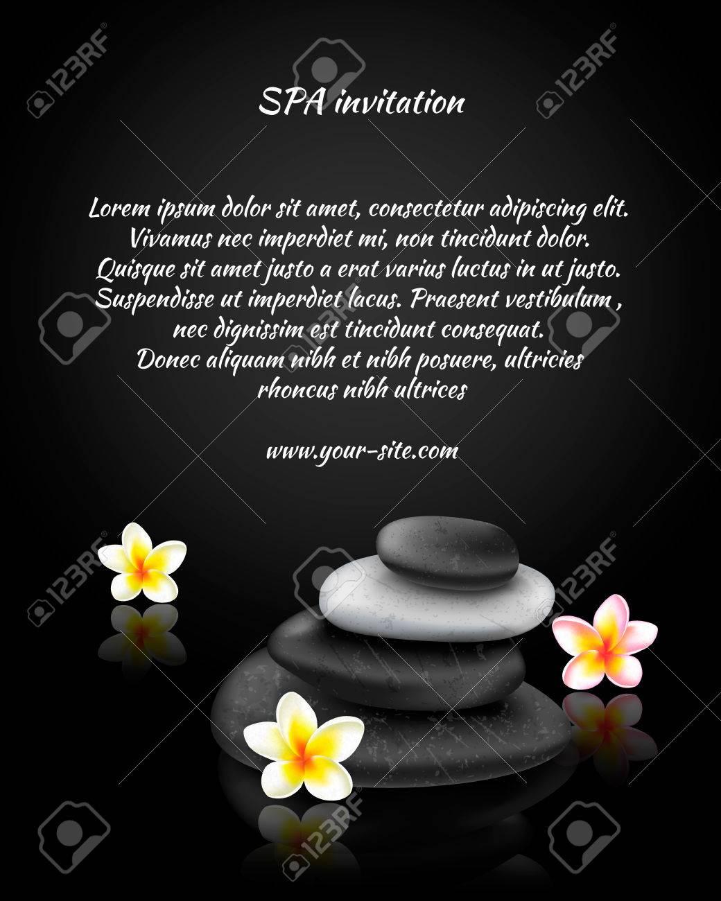 Tarjeta De Invitación De Spa Con Piedras Y Exótica Tropical Ilustración De Flores
