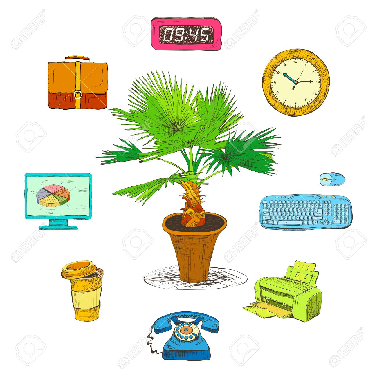 decorative office supplies. Business Office Stationery Supplies Icons Set With Decorative Desktop Dracaena Palm Isolated Sketch Illustration Stock Vector O
