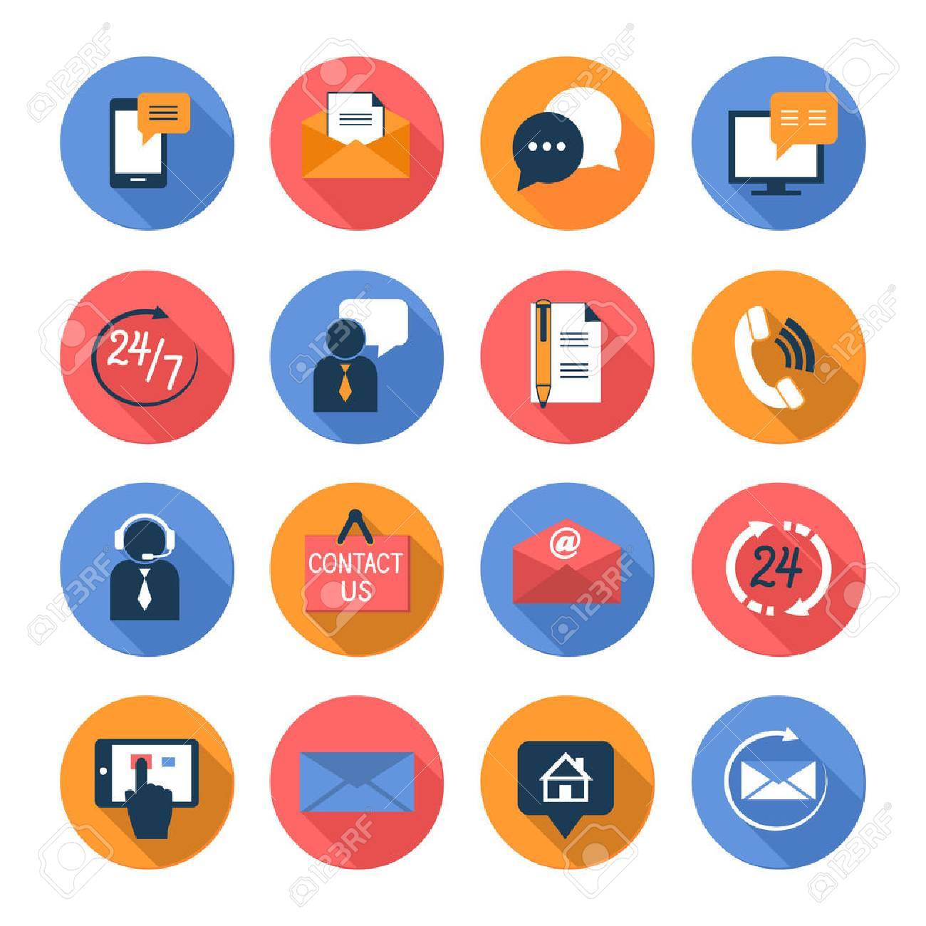 Customer care contacts flat icons set of online and offline support services isolated vector illustration - 26448607