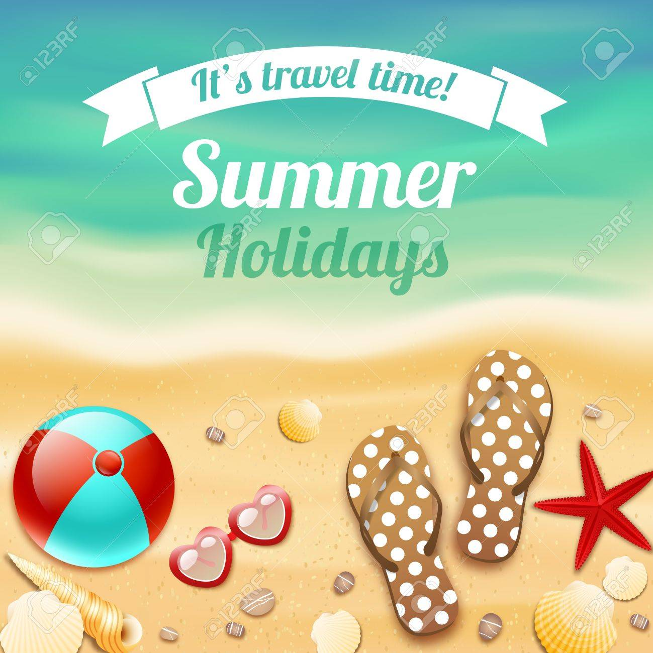 Summer Holiday Vacation Travel Background Poster With Beach Accessories Sunglasses Sandals And Starfish Illustration Stock Vector