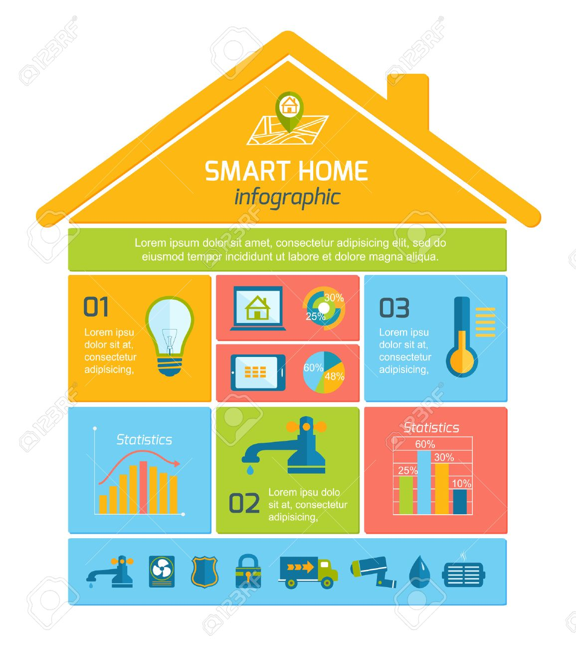smart home automation technology infographics utilities icons and elements with graphs and charts design layout illustration. beautiful ideas. Home Design Ideas