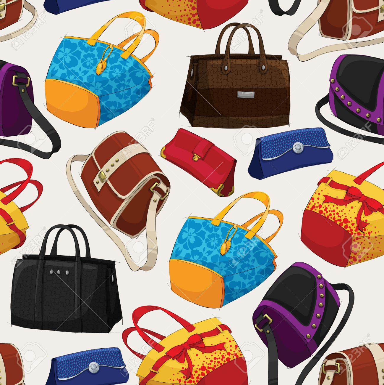 seamless woman s fashion bags pattern background illustration