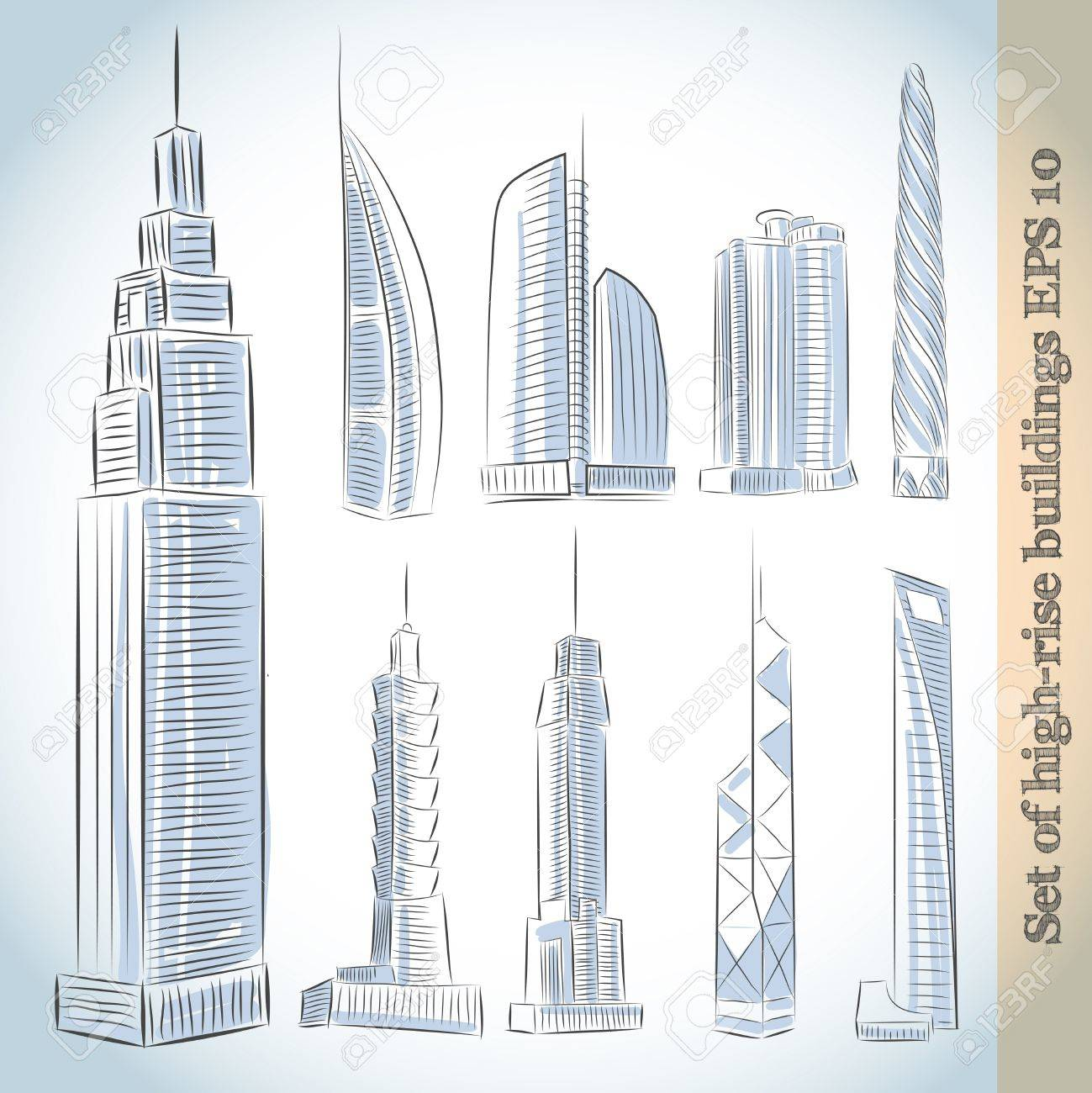 Building Icons Set Of Modern Skyscrapers Isolated Sketch Stock Vector