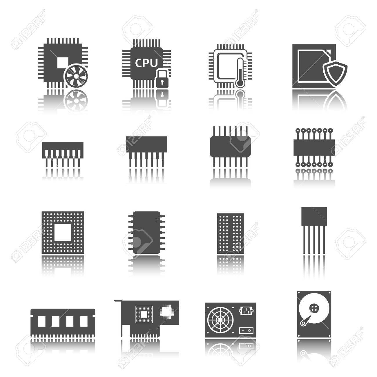 Elektronische Geräte Technik Computerschaltungen Schwarze Symbole ...