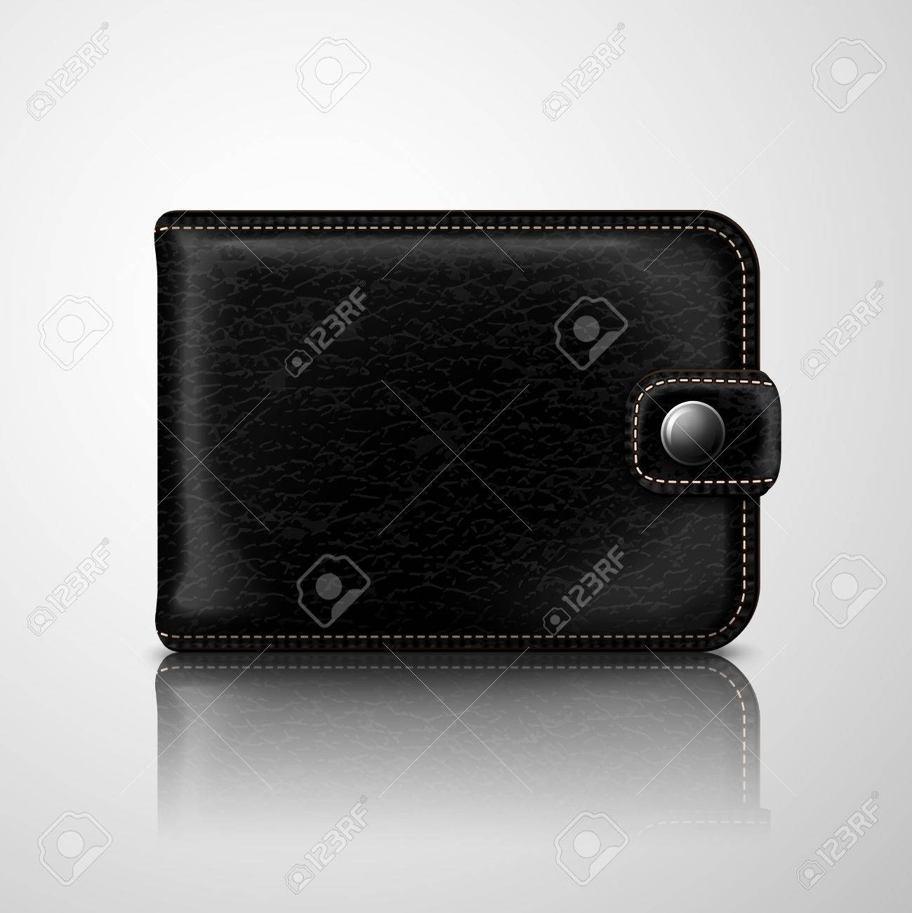 Classic modern black wallet pouch with leather texture and stitches Stock Vector - 27138941