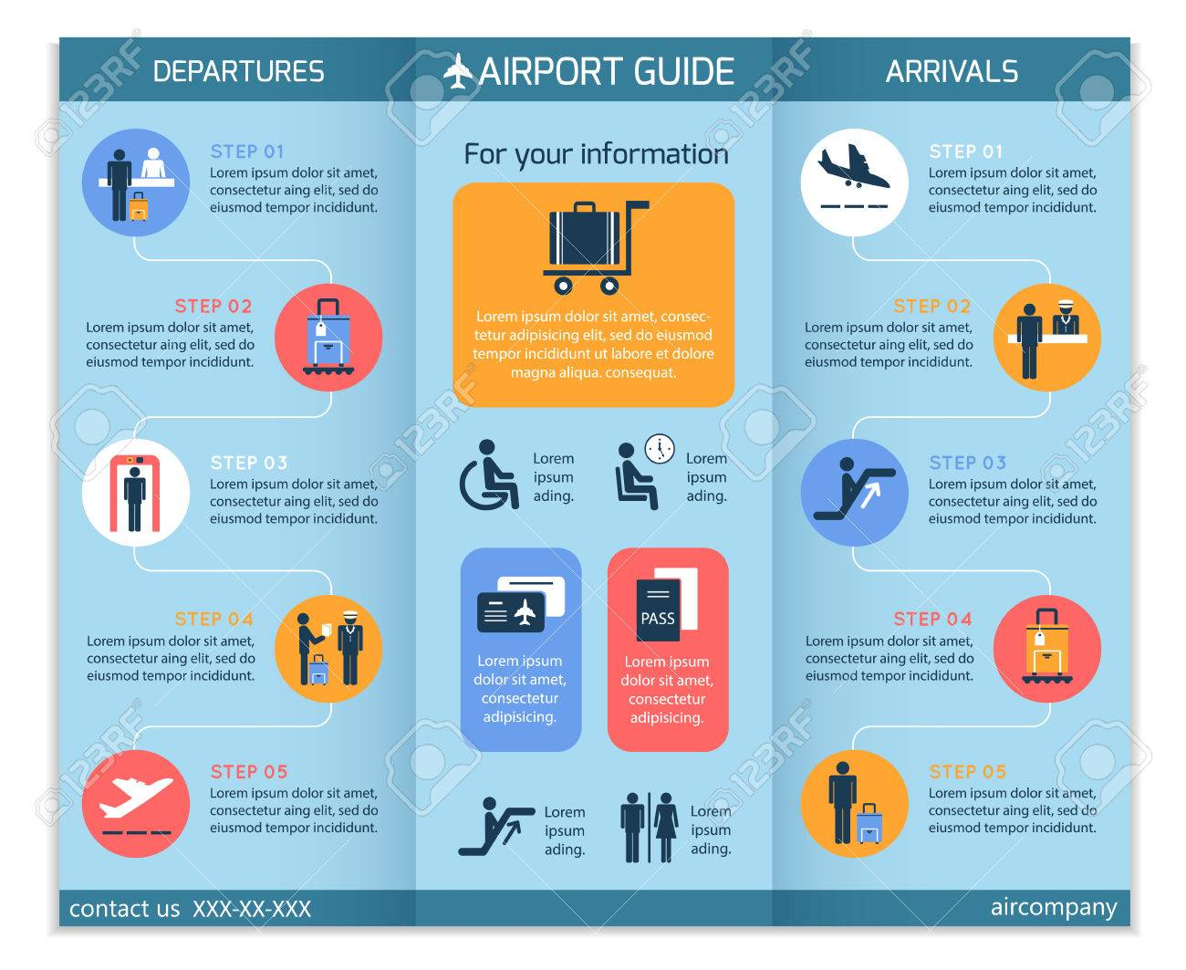airport business infographic brochure template with security