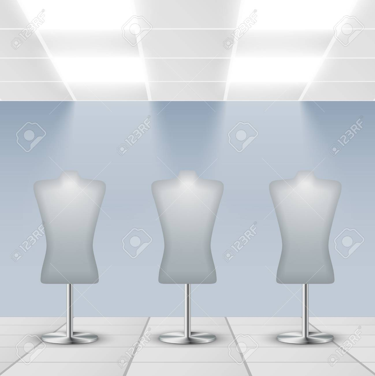 Illuminated department store shop display dress dummies stands Stock Vector - 27139362