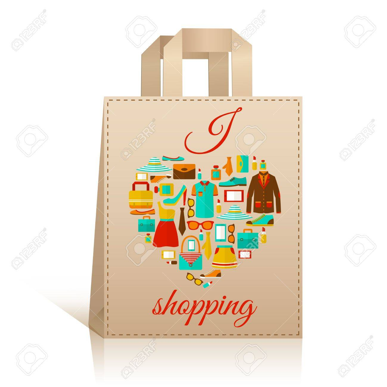 Big Carry Paper Sale Shopping Bag Design Template With Love Heart Royalty Free Cliparts Vectors And Stock Illustration Image 27139554