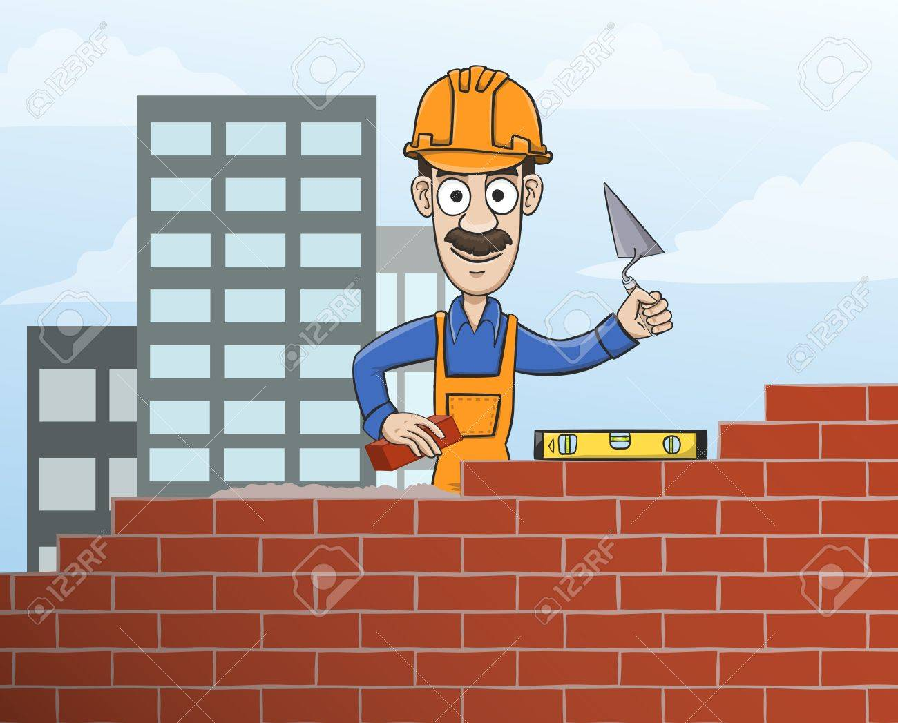 Construction Site Mason Worker In Helmet Building Red Brick Wall With Trowel Vector Illustration Stock