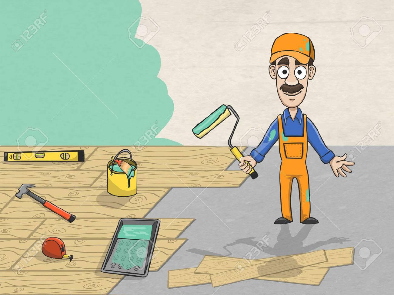 Profesional Trabajador Renovaci N De La Casa Pesada  ~ Herramientas Pintor Profesional