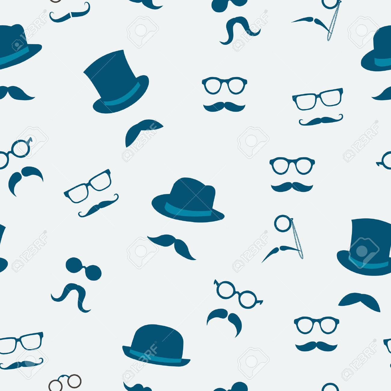Accesorios Del Doodle De Sombreros Bigote Y Gafas De Patrón De Fondo ...