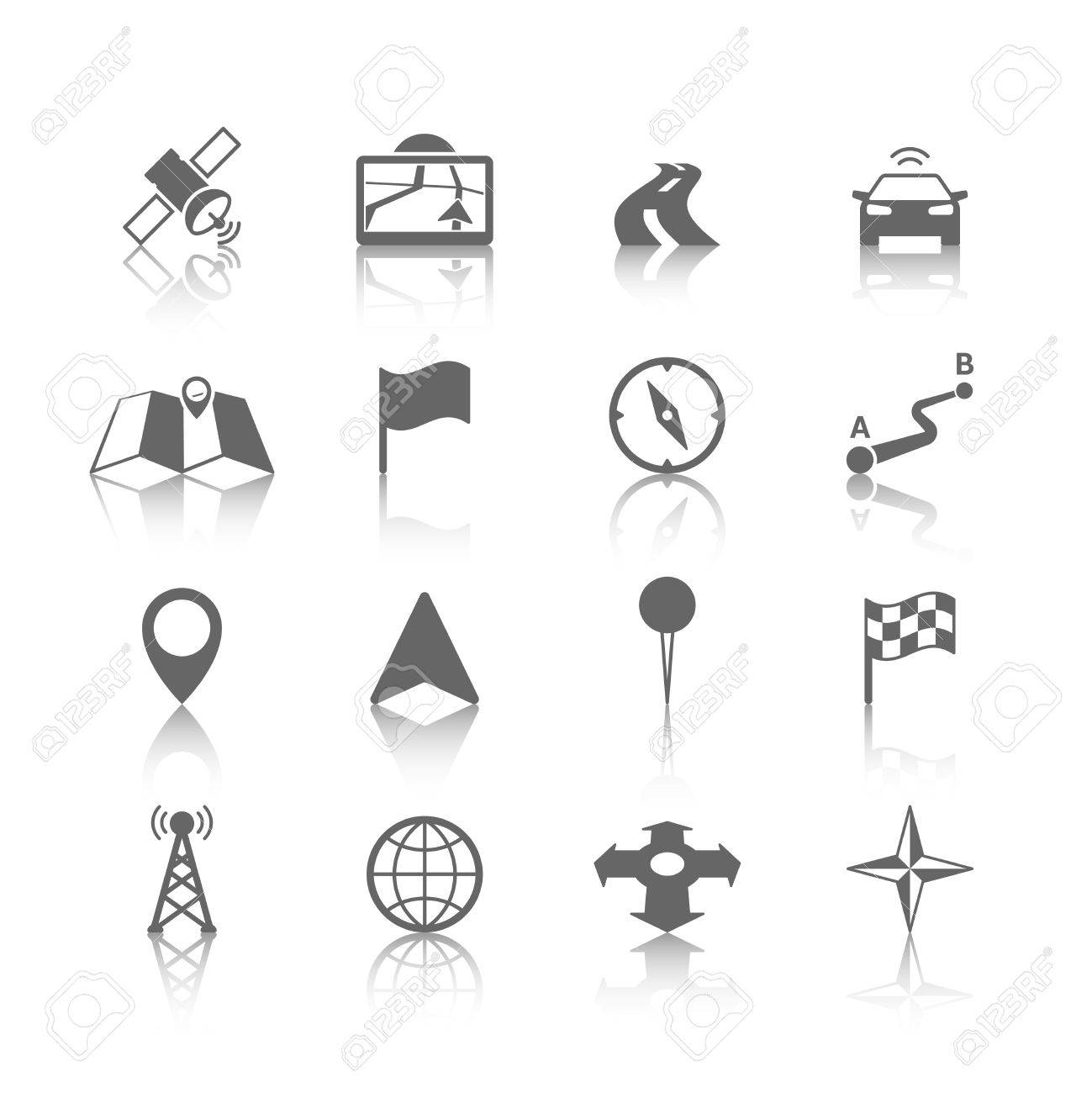 Navigation Icons Set Of Globe Road Map Flag Car Compass Flag – Road Navigation Map