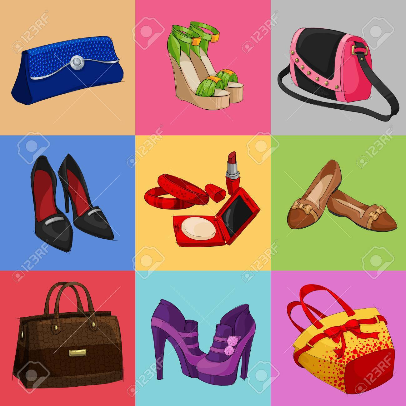 33cbc3ada Vector - Women fashion bags classic shoes and modern accessories collection  of decorative icons illustration