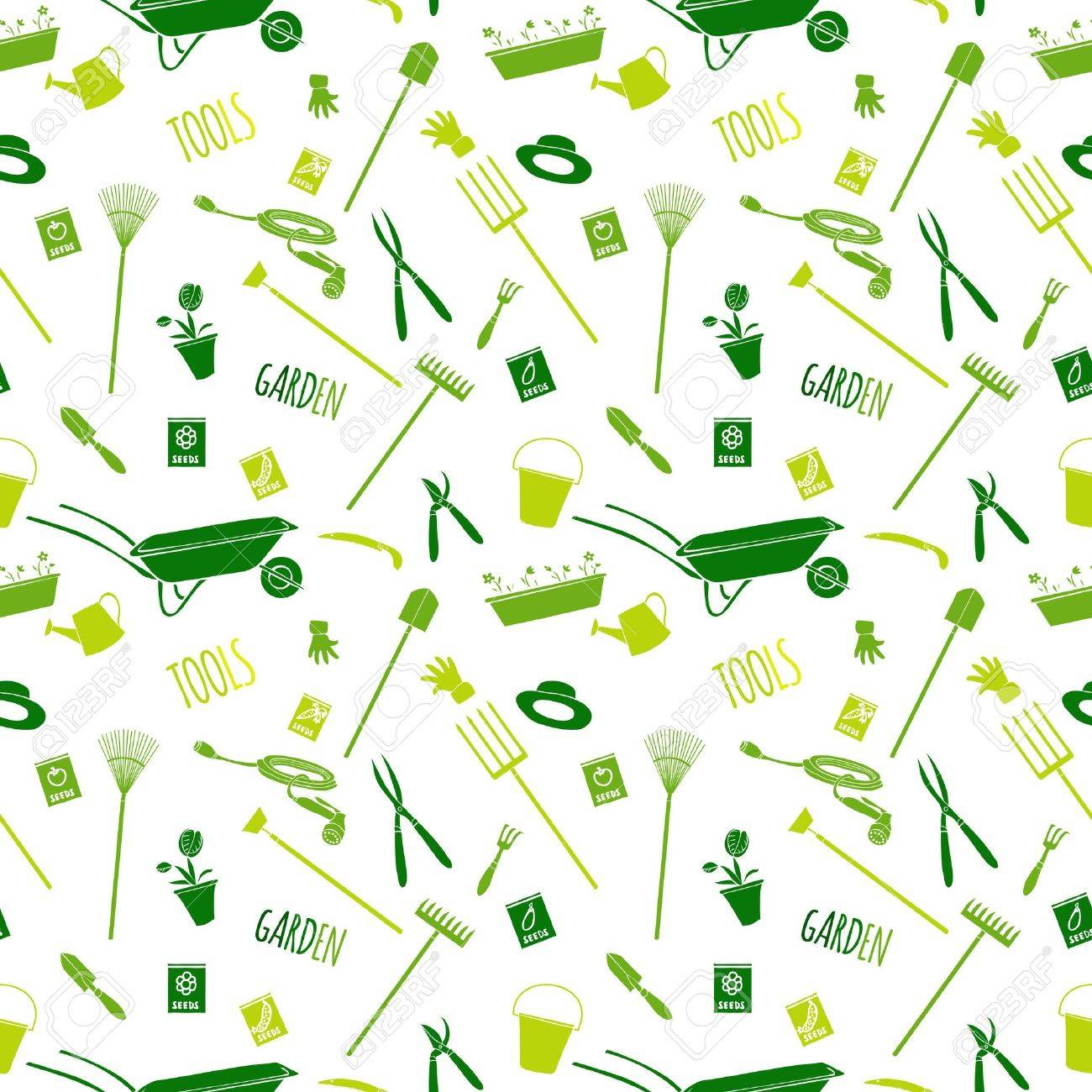 Decorative Garden Tools Seamless Wallpaper Green On White Converted ...
