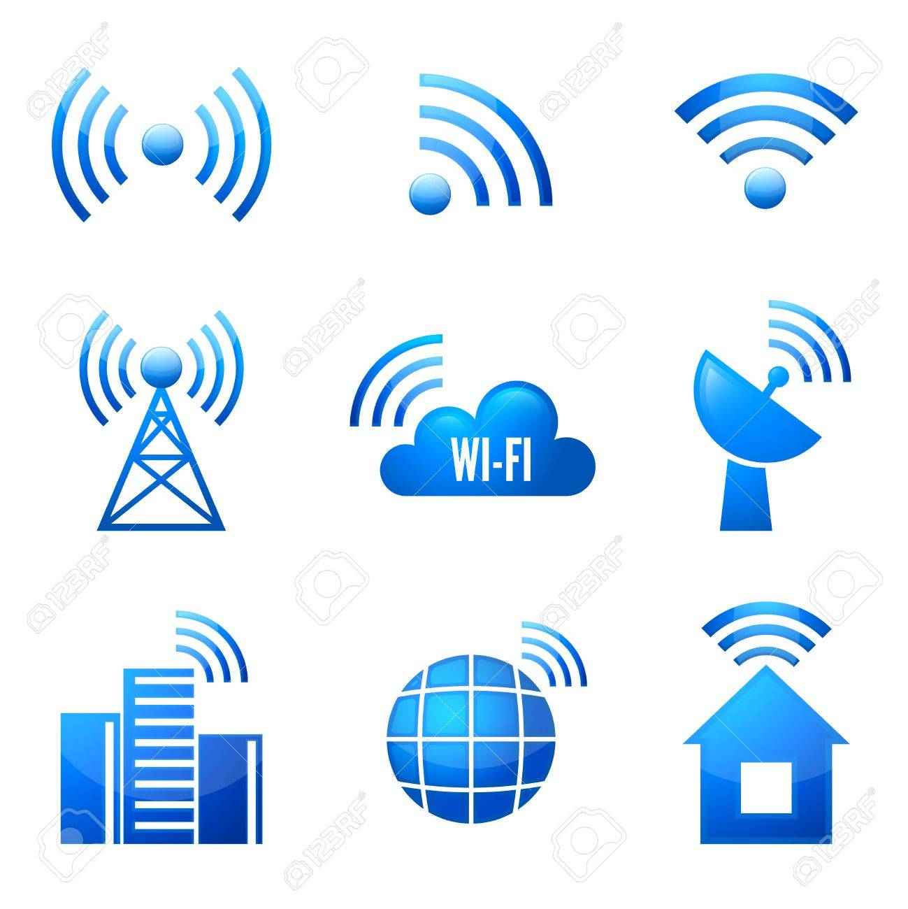 Electronic Device Wireless Internet Connection Symbols Glossy ...