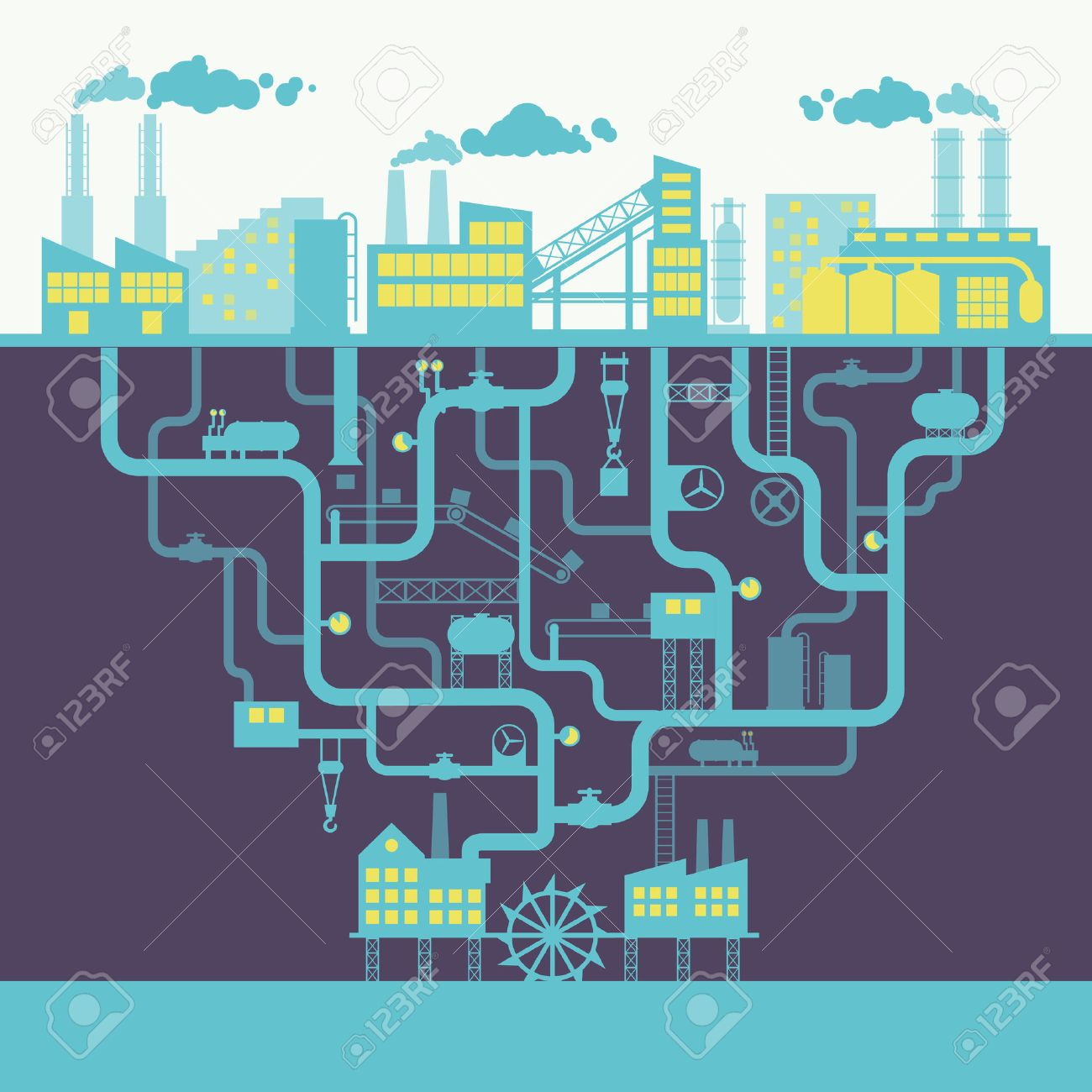 Industrial building factory or manufacturing plant background print illustration - 27147312