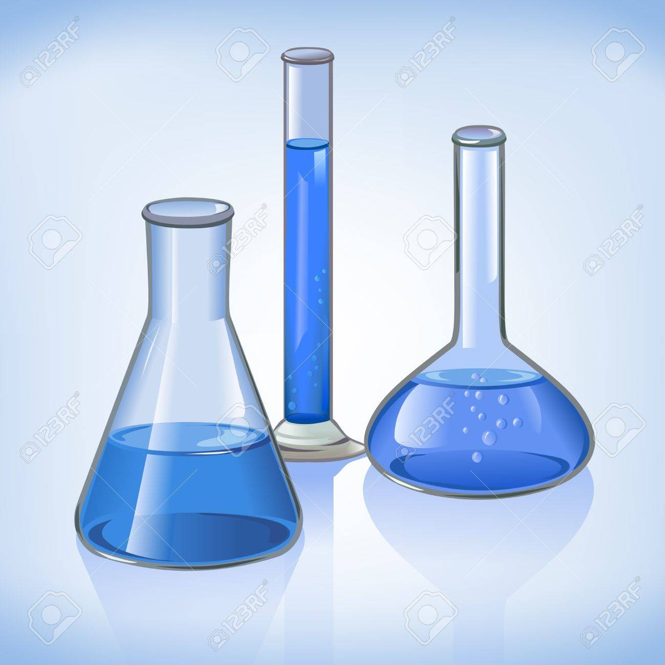 Science Laboratory Flasks Glassware Template On Blue Still Life