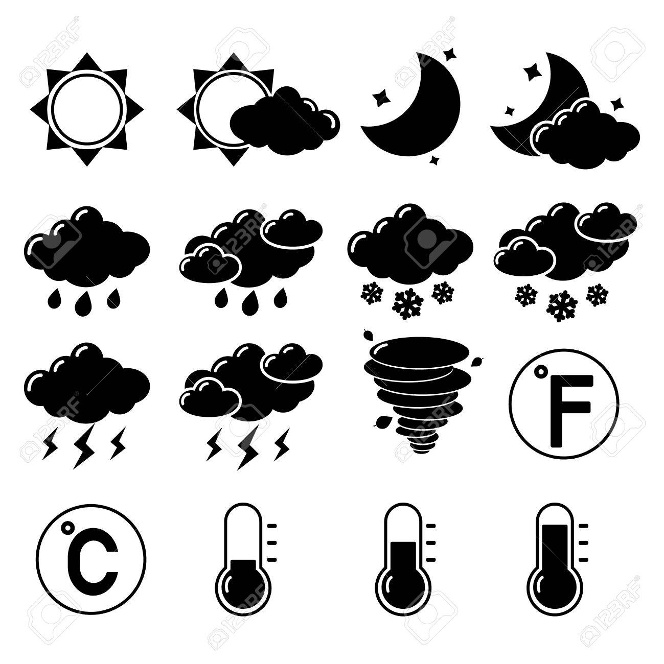 Weather Forecast Symbols Black Pictogram Set Of Hot Cold Temperature