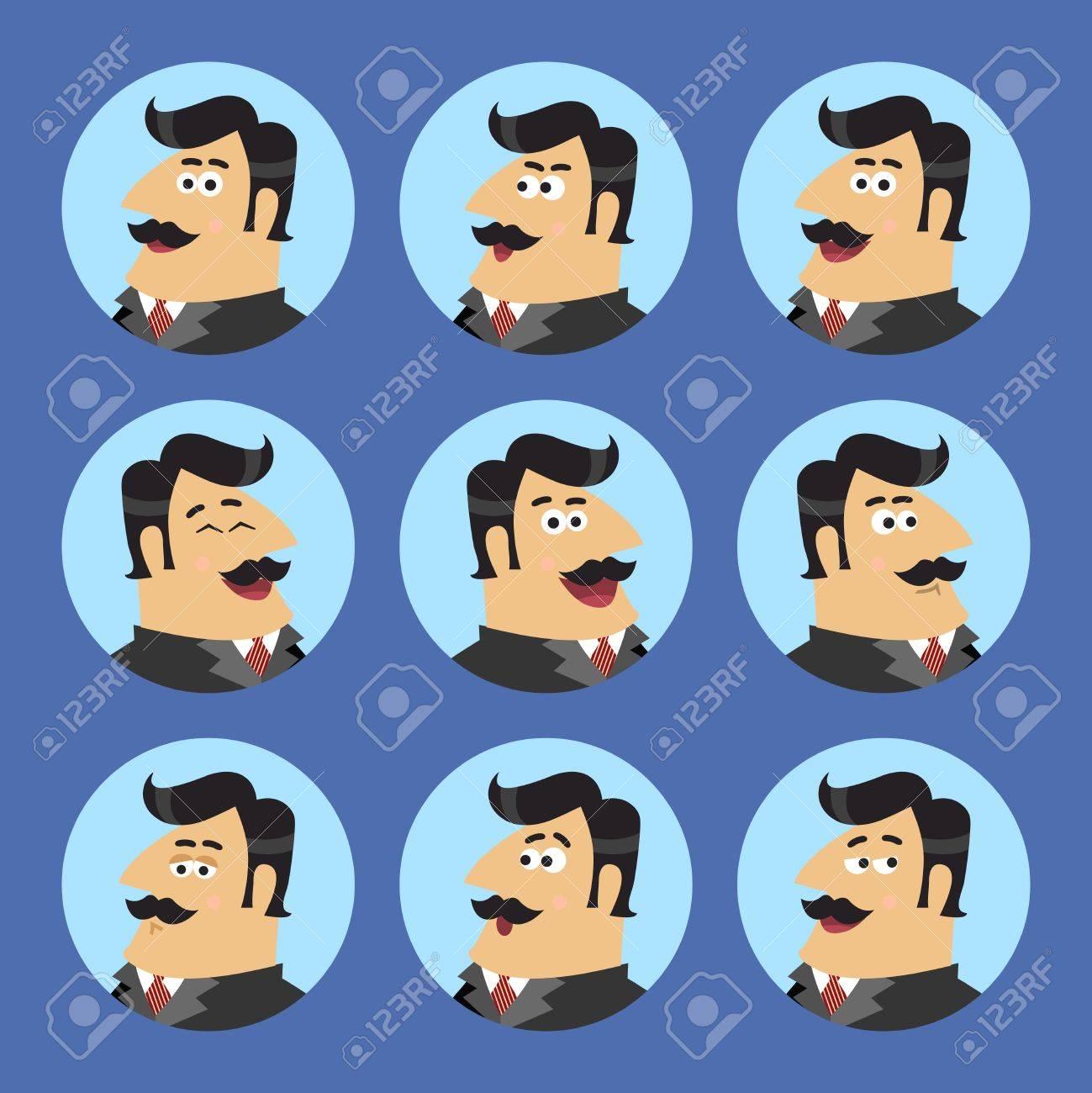 Zakenleven Aandeelhouder In Pak Emotionele Uitdrukkingen Iconen Set Geïsoleerde Scene Begrip Vector Illustratie