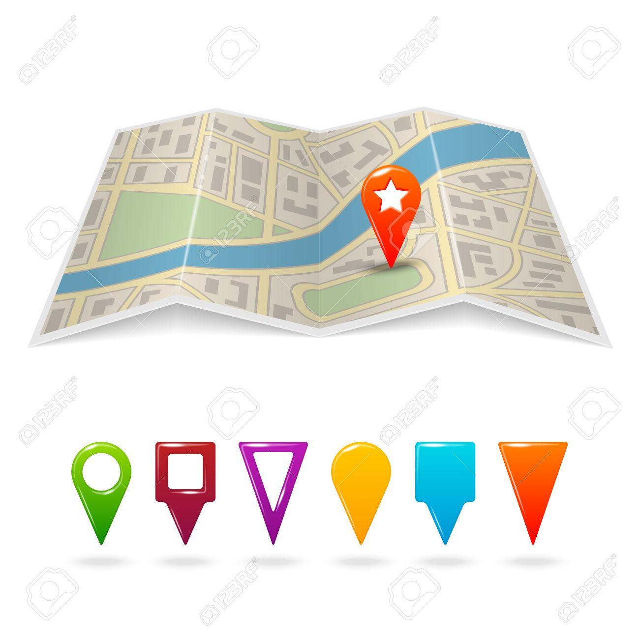 Travel City Road Street Map With Navigation Pin Symbols Vector – Road Navigation Map