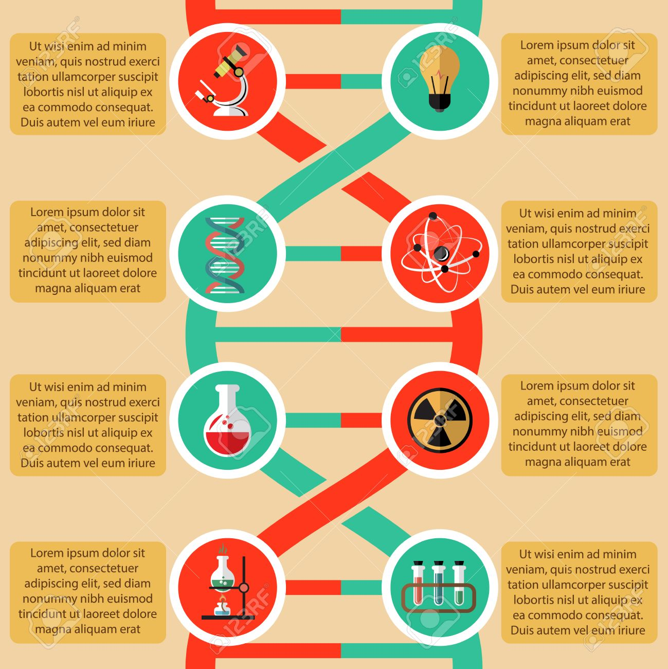 Elementos De Física Y Química Infográficas Con átomo Radiactivo Signo Ilustración Estructura Vaso Microscopio Vector