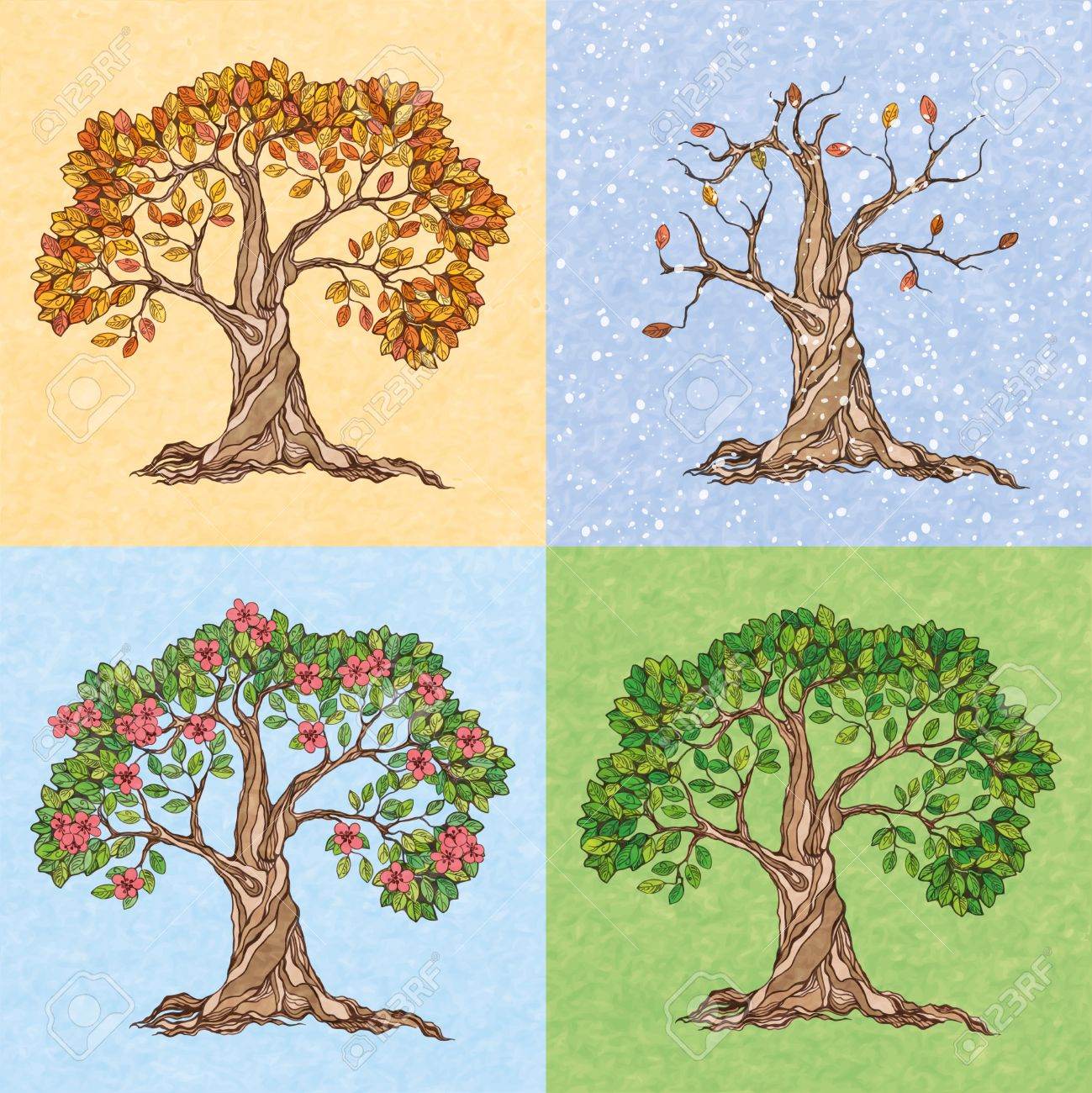 Four seasons summer autumn winter spring tree wallpaper vector four seasons summer autumn winter spring tree wallpaper vector illustration 27595516 voltagebd Images