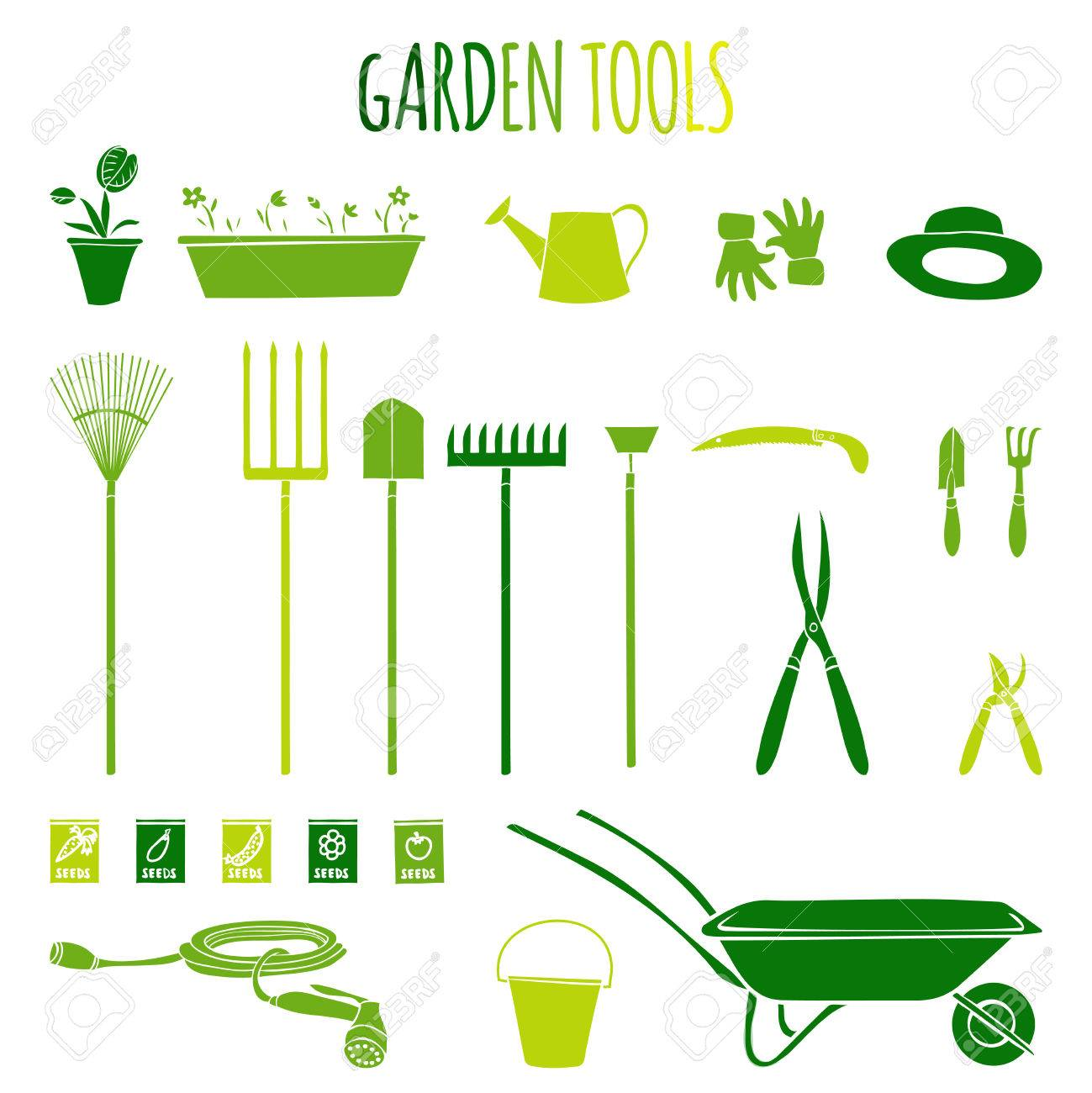 Garden Related Tools And Accessories With Plants Cartoon Pictograms ...