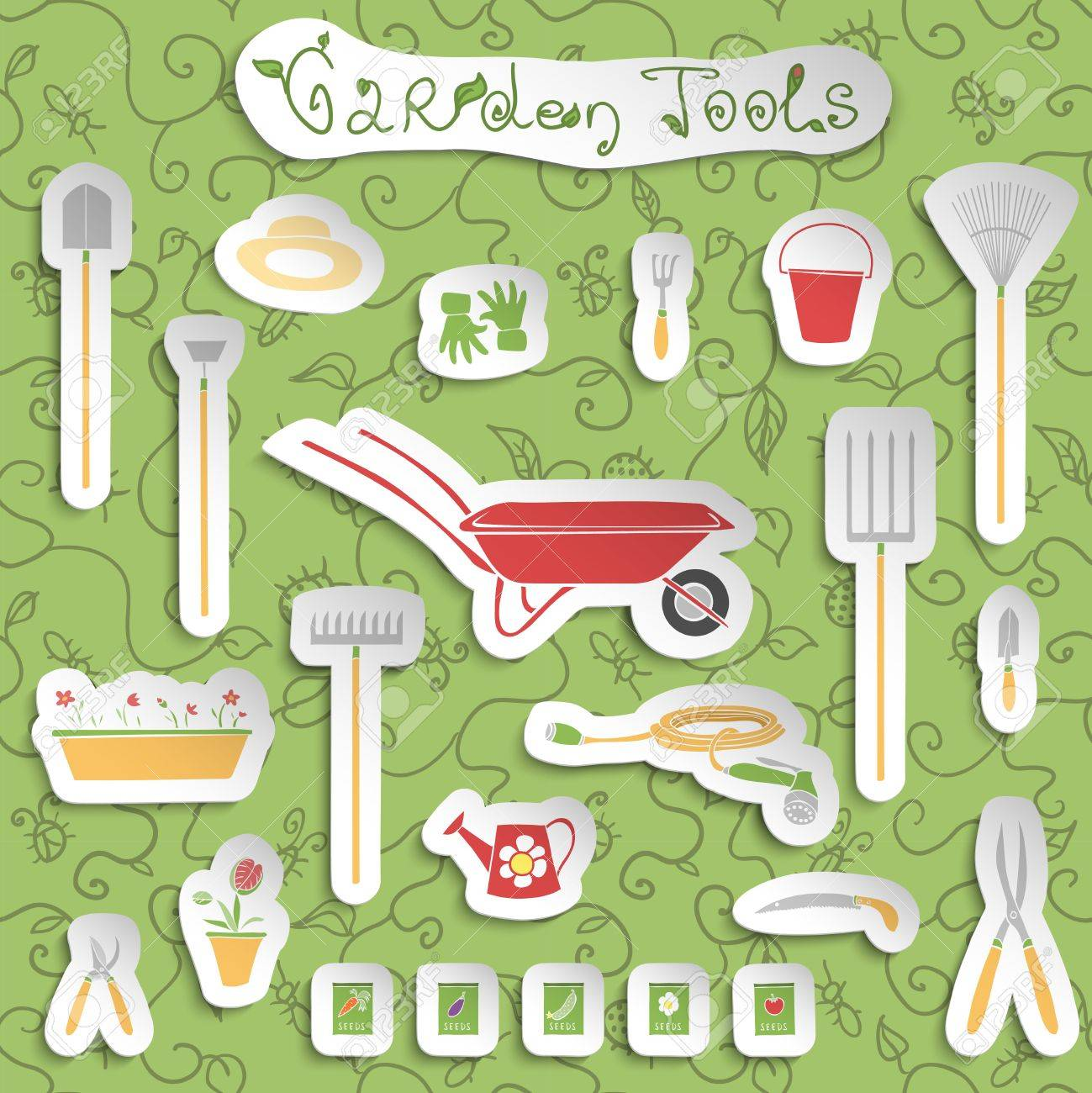 Decorative Stickers Collection Of Garden Outdoors Tools And ...