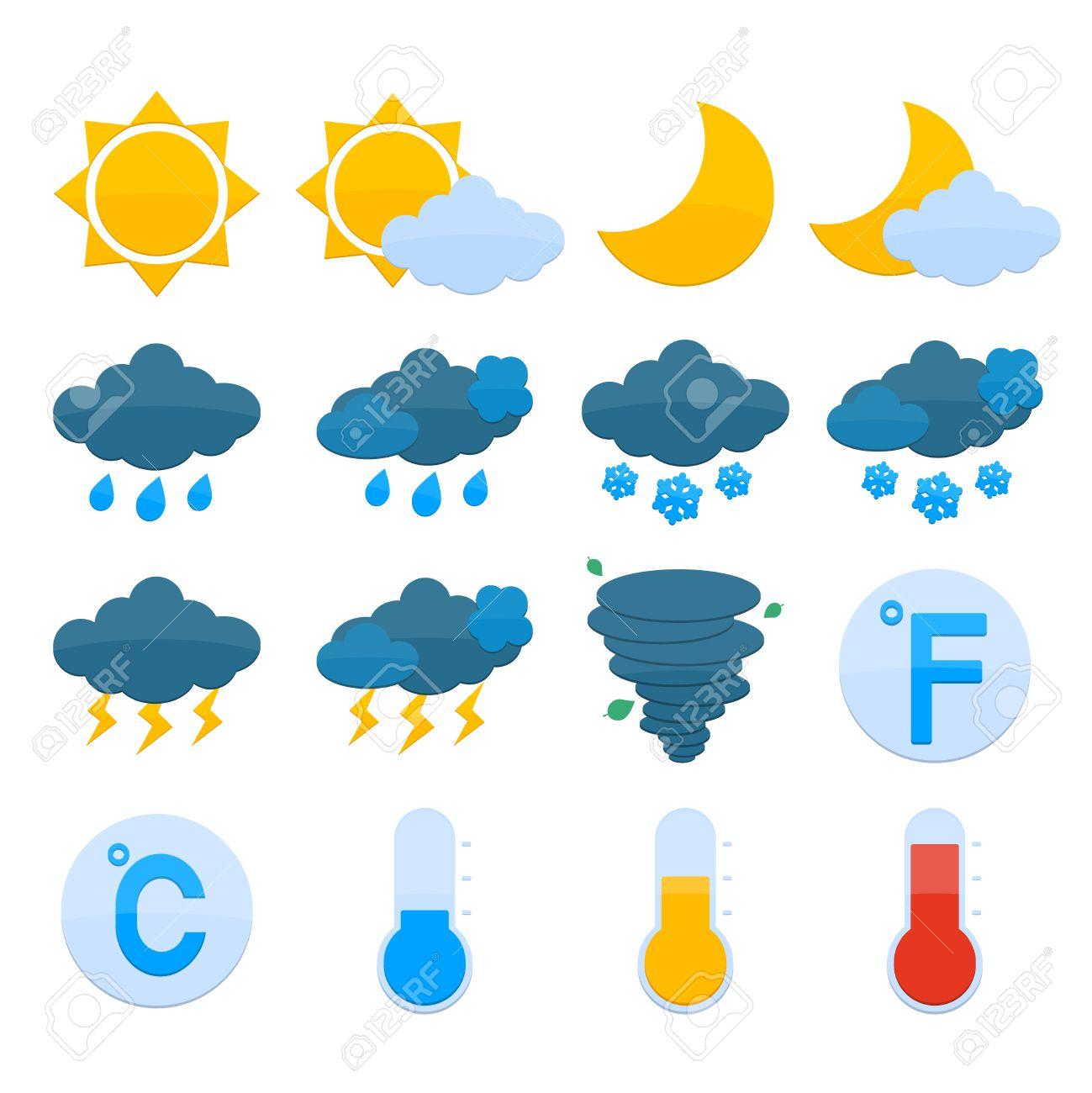 Weather Forecast Symbols Color Icons Set Of Sun Cloud Rain Snow