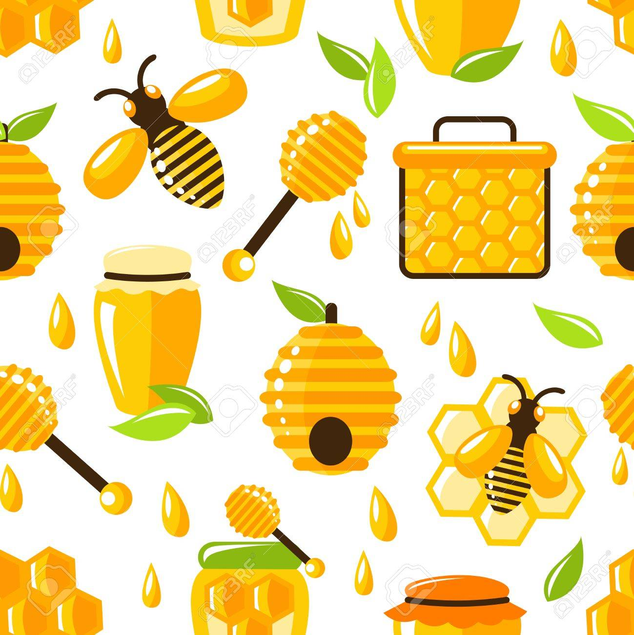 Decorative Honey Bee Hive And Cell Food Seamless Pattern Vector Illustration Stock