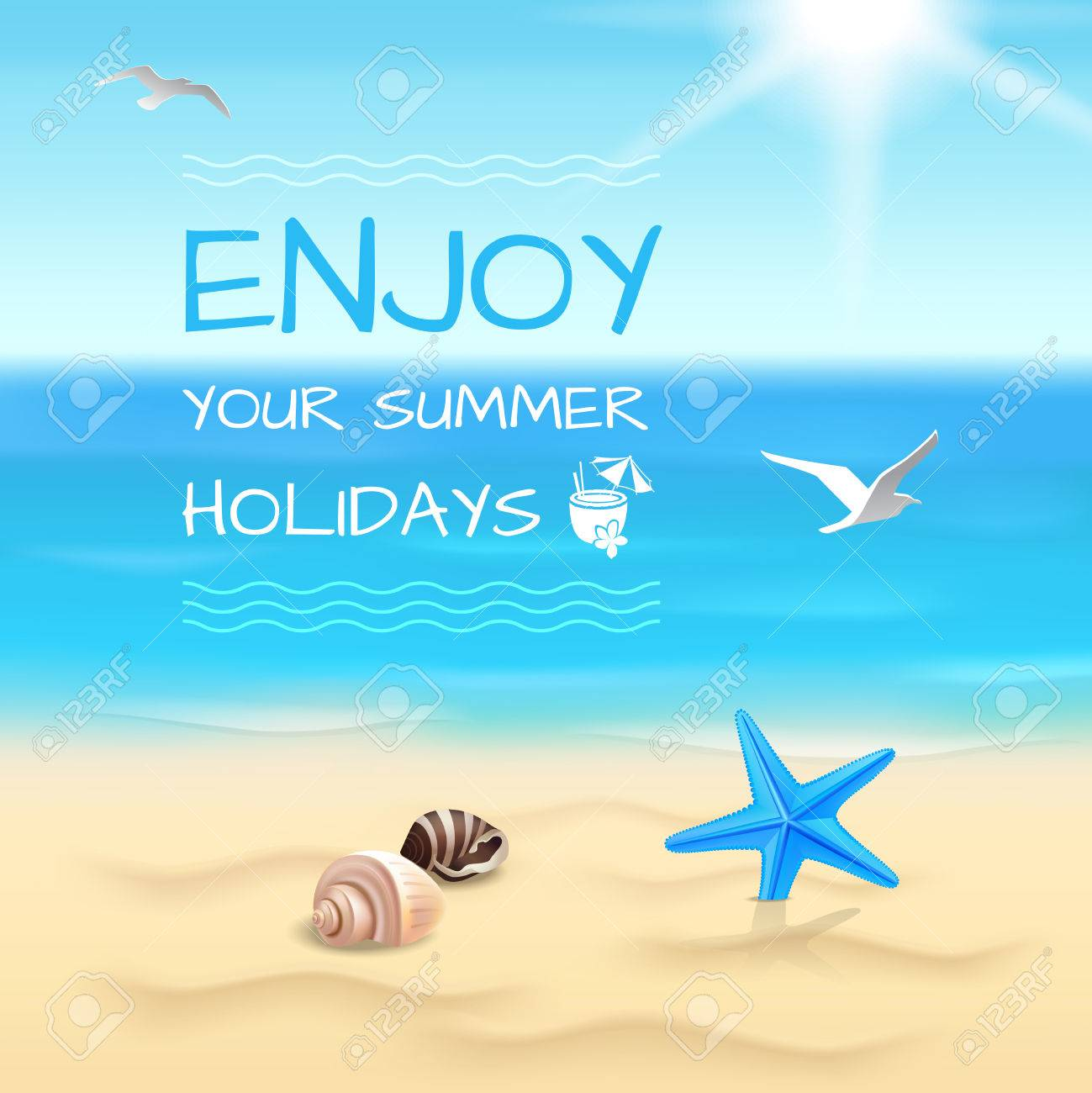 summer holidays seaside beach background enjoy your summer holidays