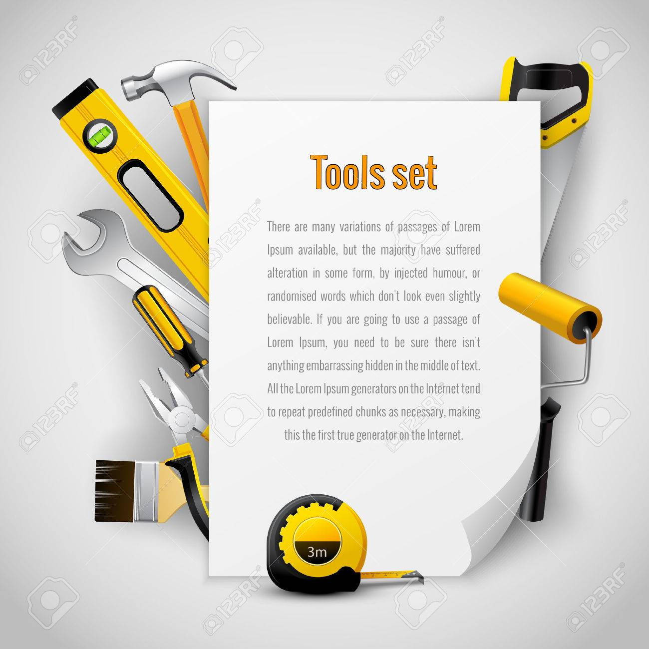 Realistic Carpenter Tools Background Frame With Hammer Saw Pliers ...