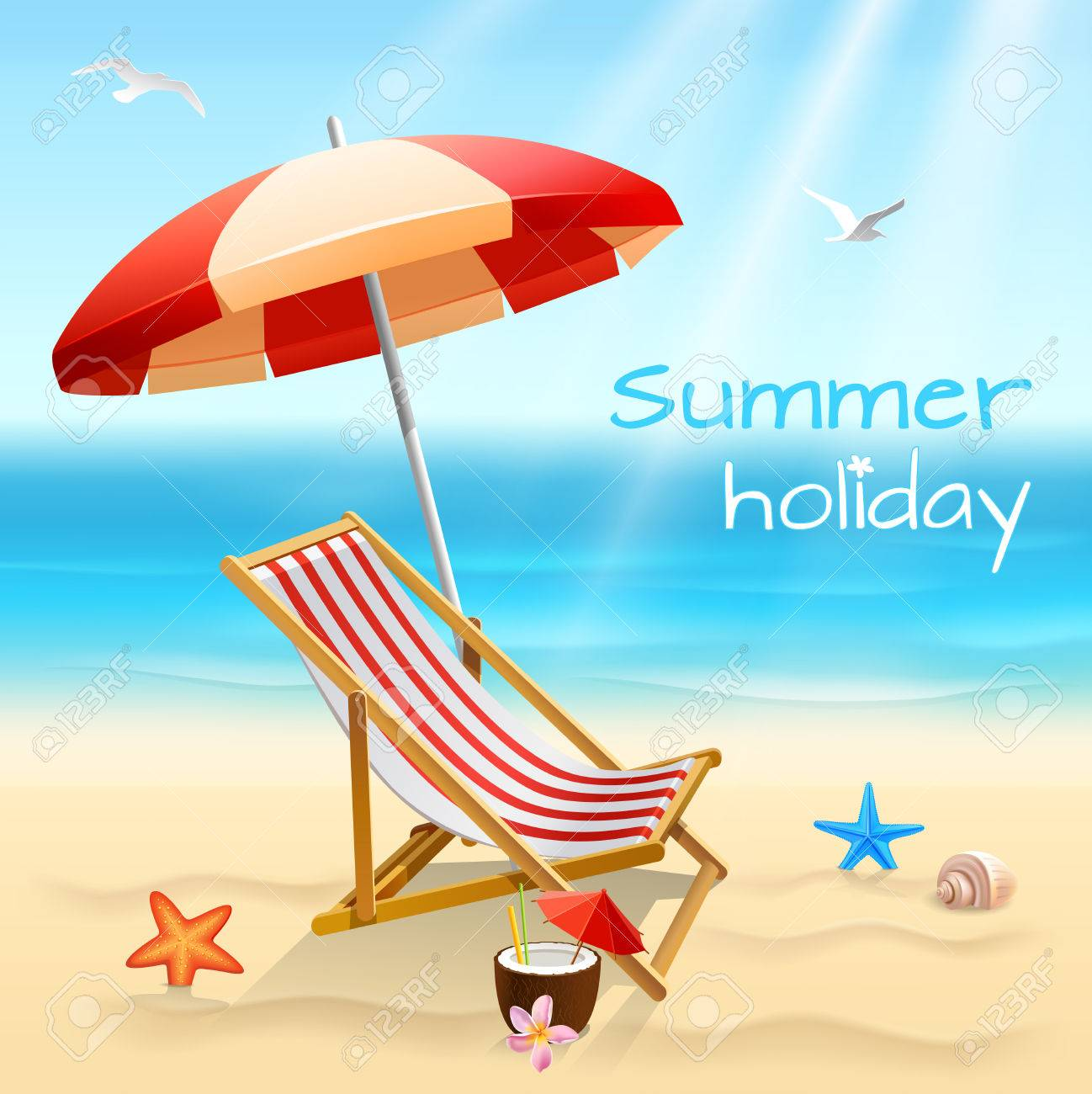 Summer Holidays Beach Background Poster With Chair Starfish And Cocktail  Vector Illustration Stock Vector   27827818