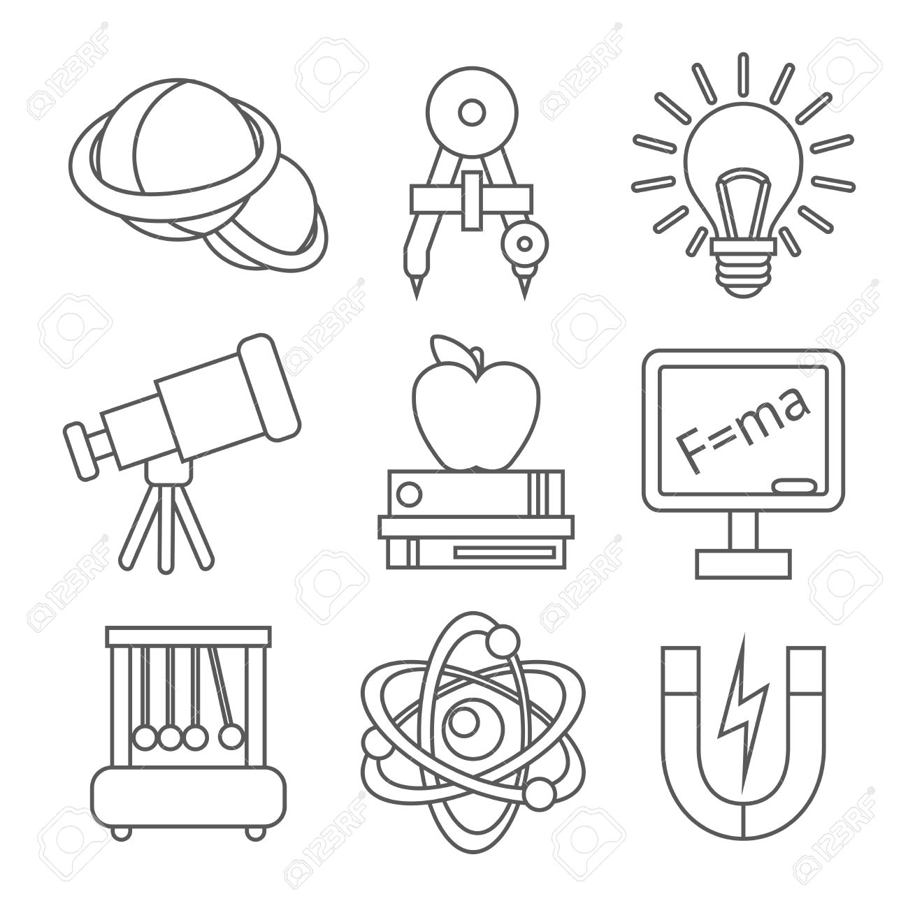 Physics Science Equipment School Laboratory Outline Education Icons Set Isolated Vector Illustration Stock