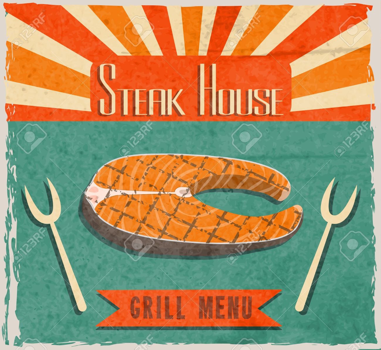 Barbecue Retro Vintage Grill Restaurant Poster With Fish Steak Royalty Free Cliparts Vectors And Stock Illustration Image 27942091