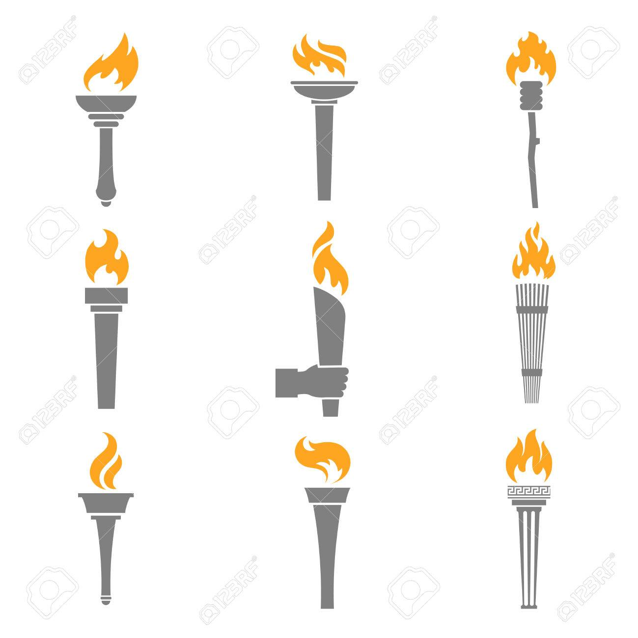 Fire torch victory champion flame icons set isolated vector illustration Stock Vector - 27942154