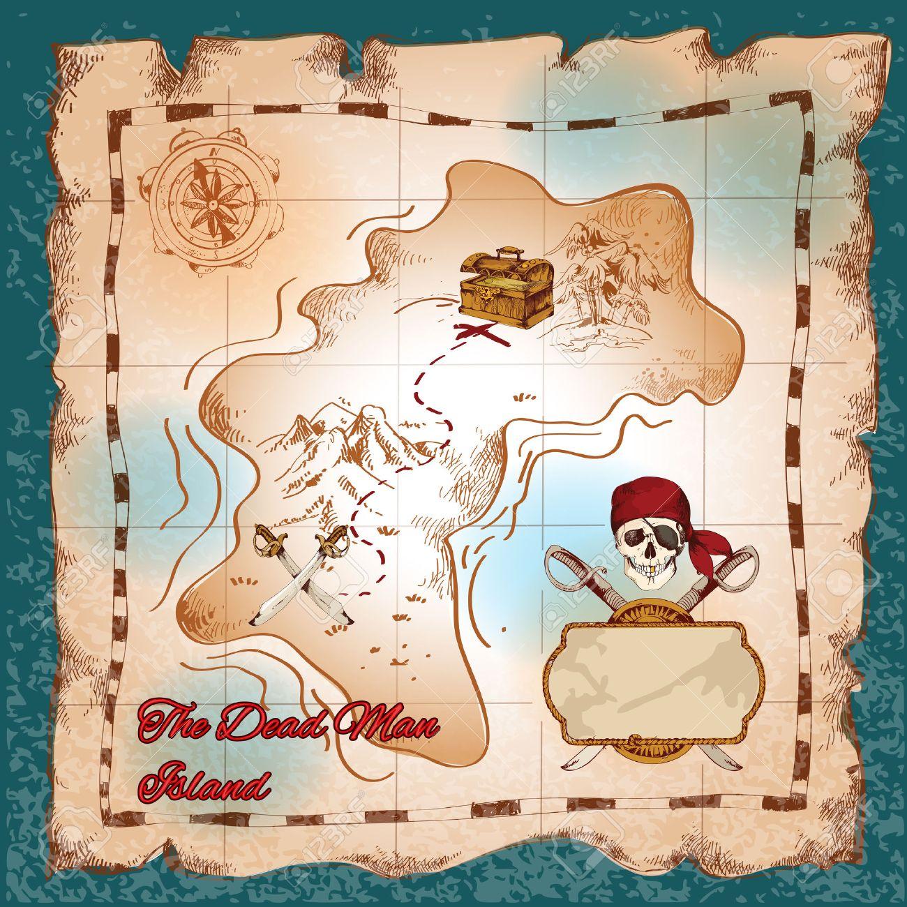 Carte Au Tresor Dechire.Dechire Papier Vintage Pirate Carte Au Tresor Sur Le Vecteur De L Ile De L Homme Mort Illustration