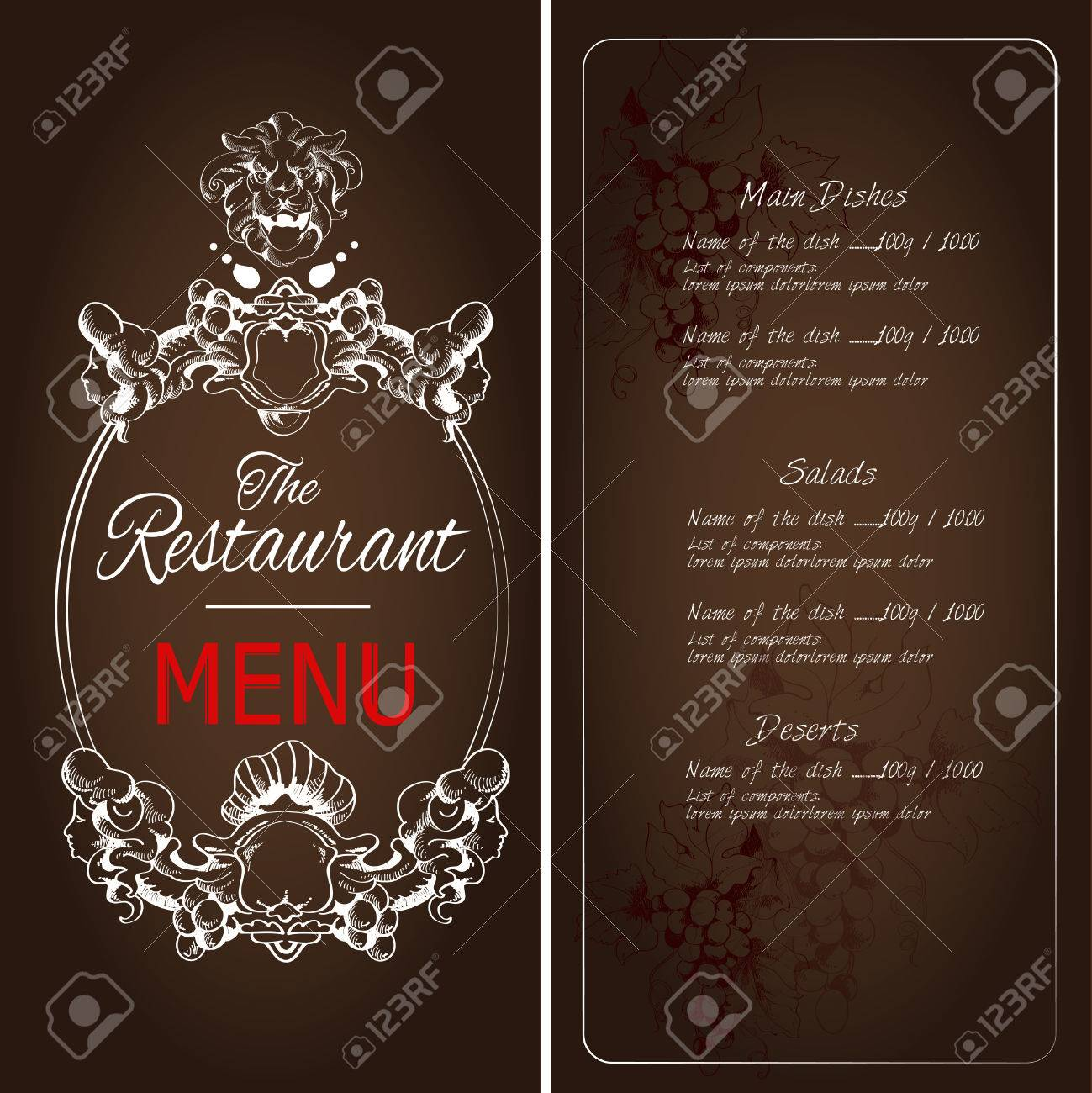 retro vintage restaurant menu dark background template with lion