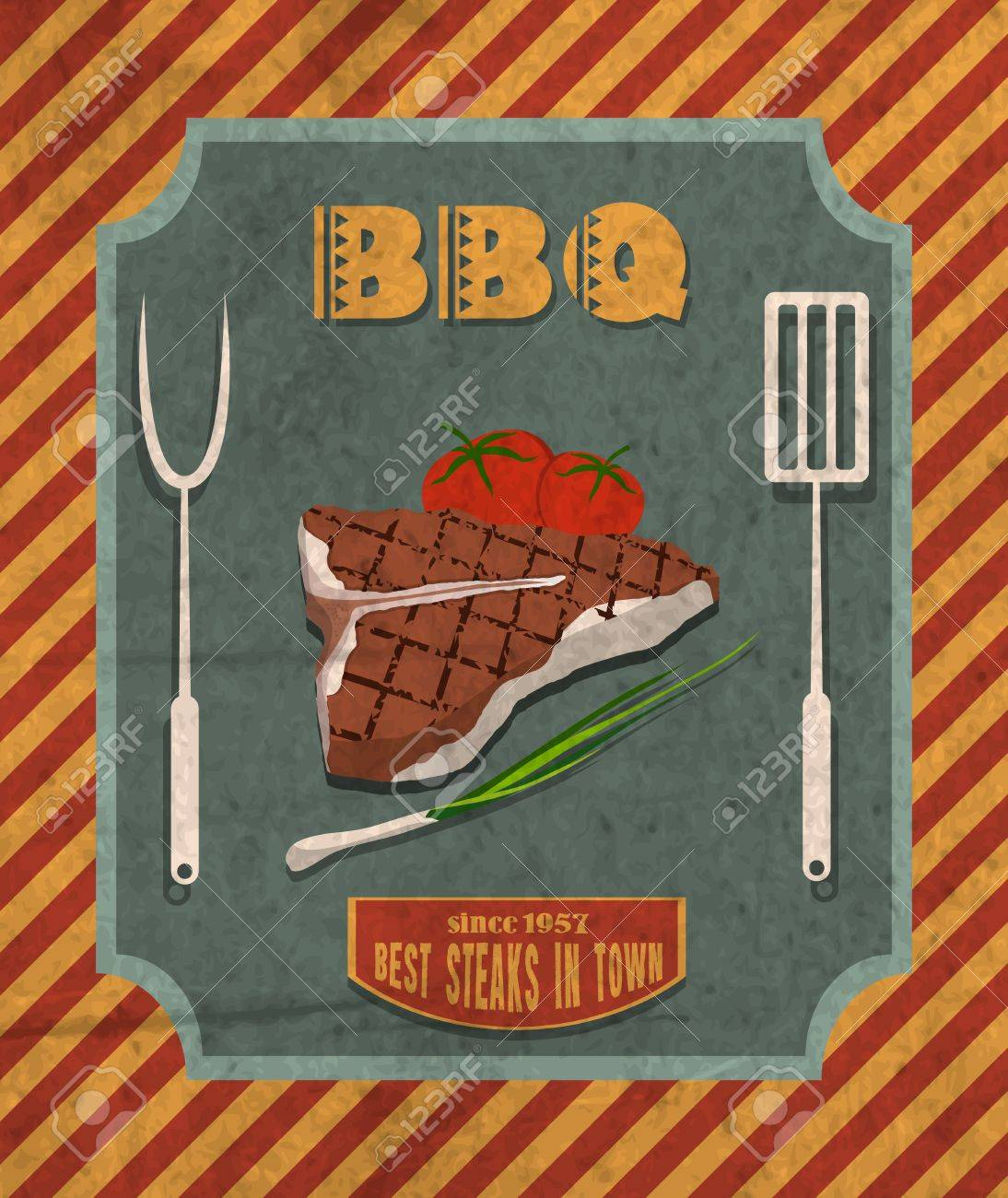 Barbecue Retro Vintage Grill Restaurant Poster With Meat Steak Royalty Free Cliparts Vectors And Stock Illustration Image 27942255
